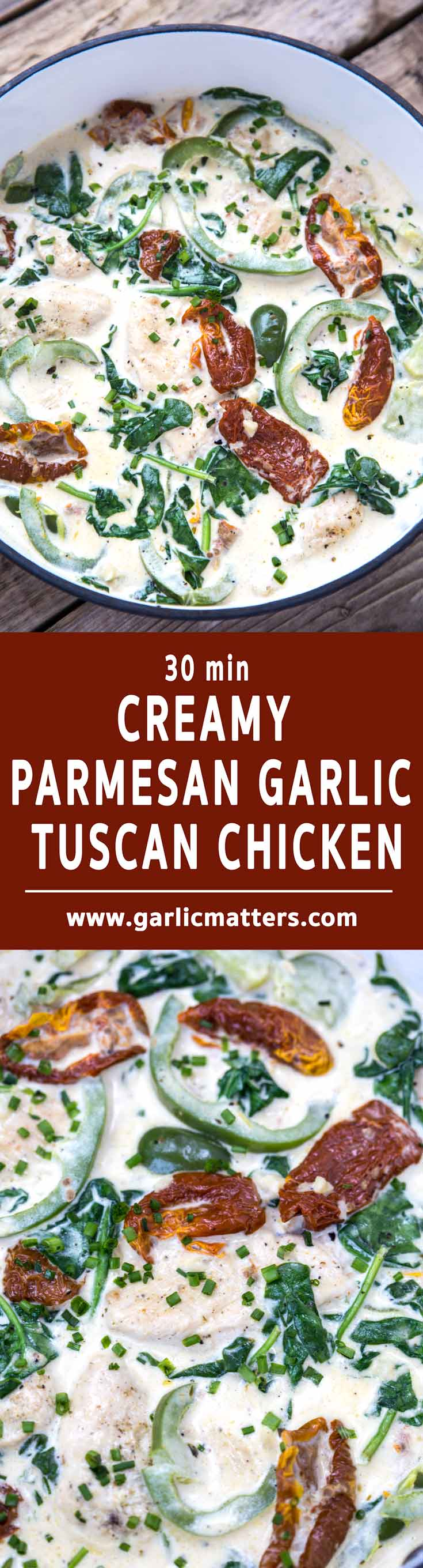 30 min Creamy Tuscan Parmesan Garlic Chicken recipe - perfect for lunch or dinner with pasta or couscous.