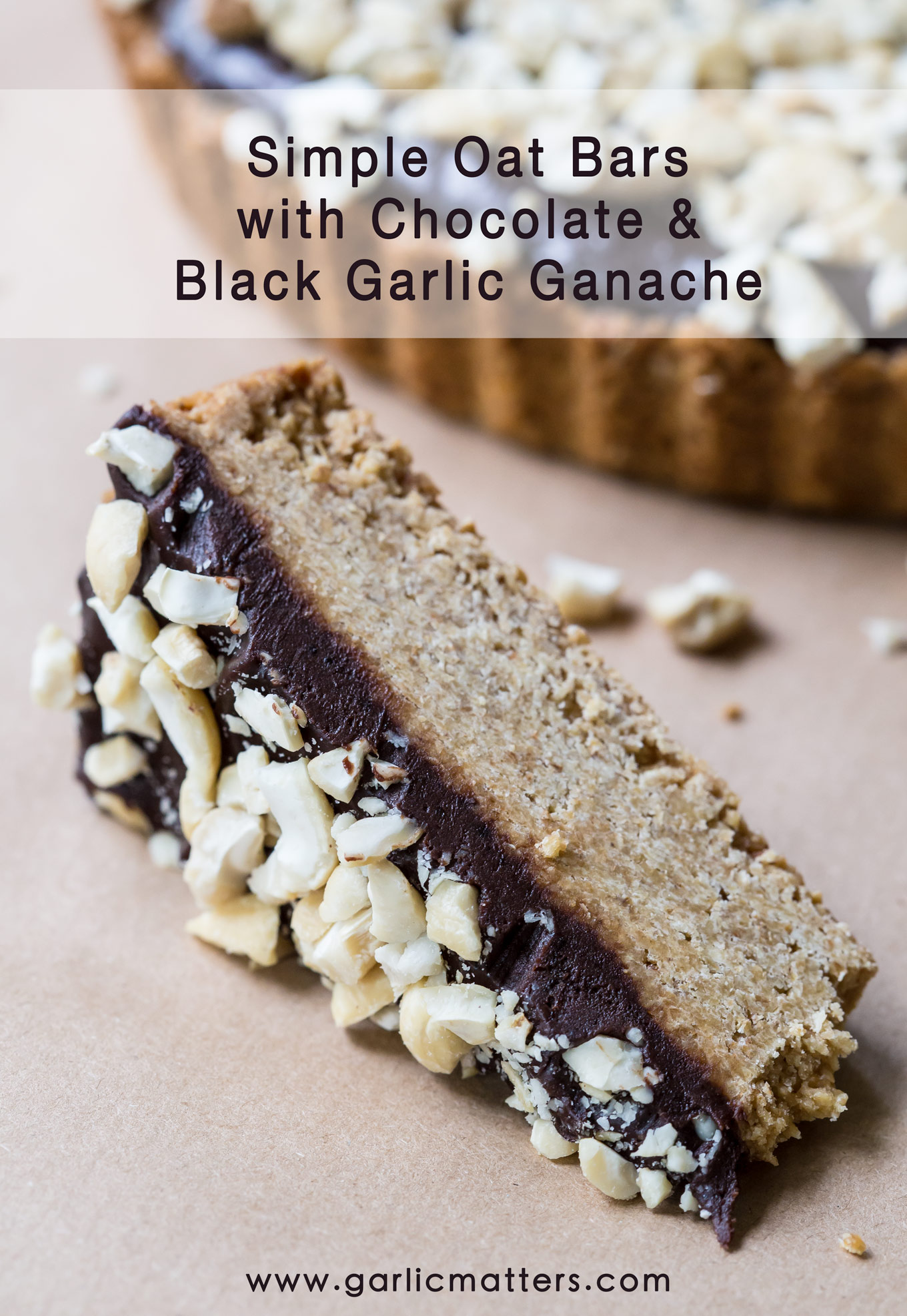 Simple Oat Bars with Chocolate and Black Garlic Ganache - energy booster, delicious snack to go for breakfast or with a cup of coffee.
