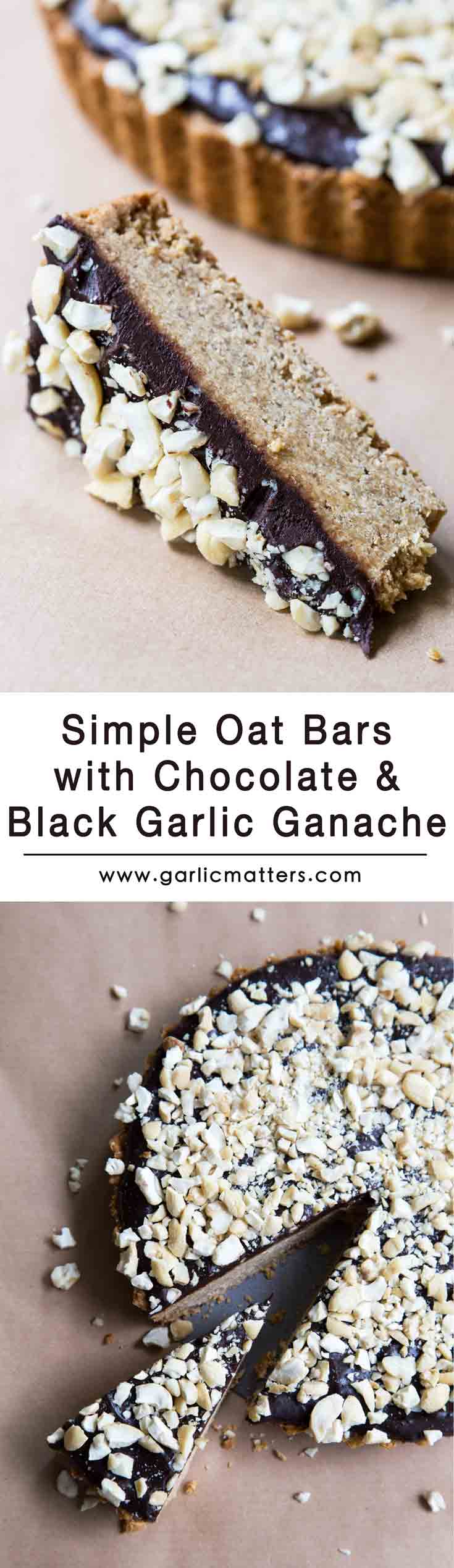 Simple Oat Bars with Chocolate and Black Garlic Ganache tick pretty much all boxes of a perfect snack to go for breakfast or with a cup of coffee. This is a great energy booster topped up with my latest favourite: delicious chocolate and sweet black garlic ganache. So good!