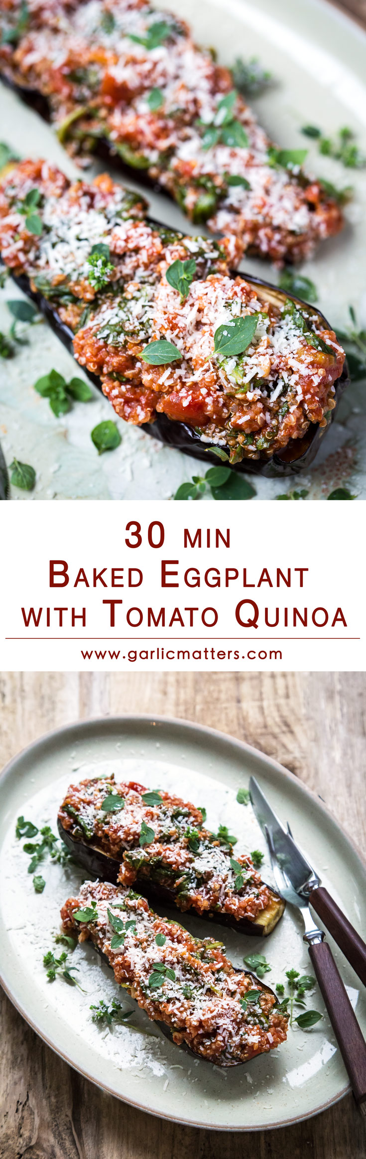 30 min Baked Eggplant with Tomato Quinoa has just become my new vegetarian favourite on our weekly menu rotation. This surprisingly light dish is perfectly satisfying even as a one course meal. High nutritional values are also a fantastic bonus. Brilliant, easy, gluten free recipe idea for leftover quinoa.