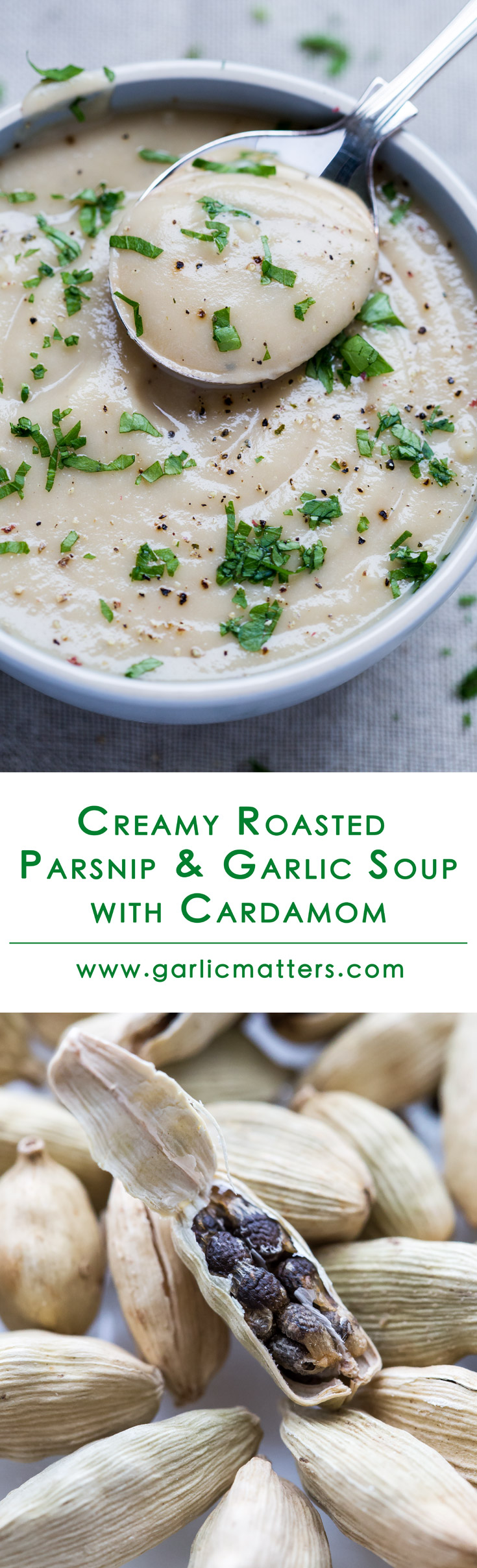 Creamy Roasted Parsnip and Garlic Soup with Cardamom is all about cozy and warming comfort of rich and velvety smooth flavours. Naturally sweet, roasted parsnips and garlic mingle together really nicely and fragrant cardamom ads a wonderful, complementing twist. Delicious, easy, vegan recipe (absolutely loved by non-vegans!!) with only 5 ingredients. Ready in 1h.