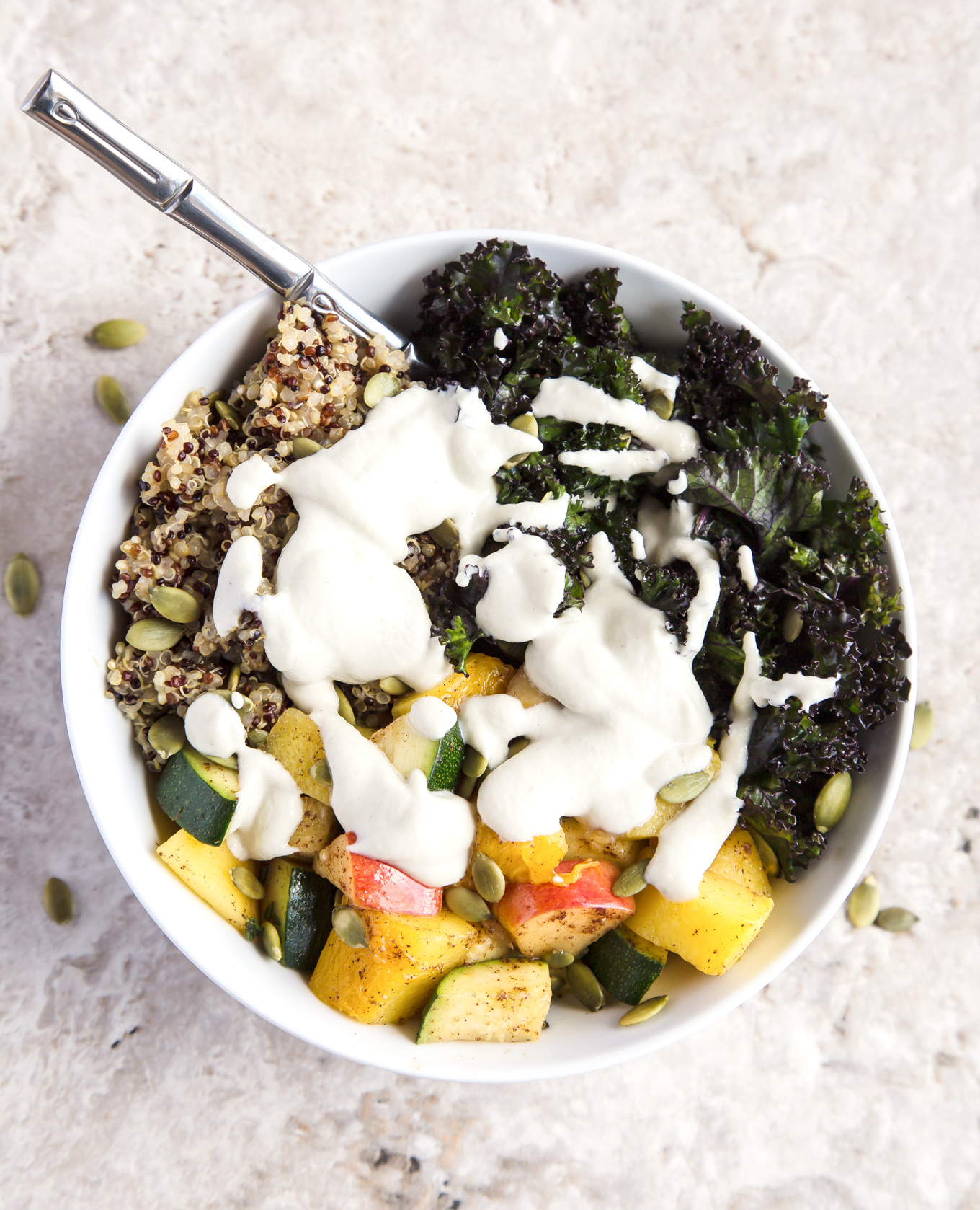 Fall Glow Buddha Bowl with Garlic Cashew Sauce - healthy, nourishing, vegan, gluten free recipe.