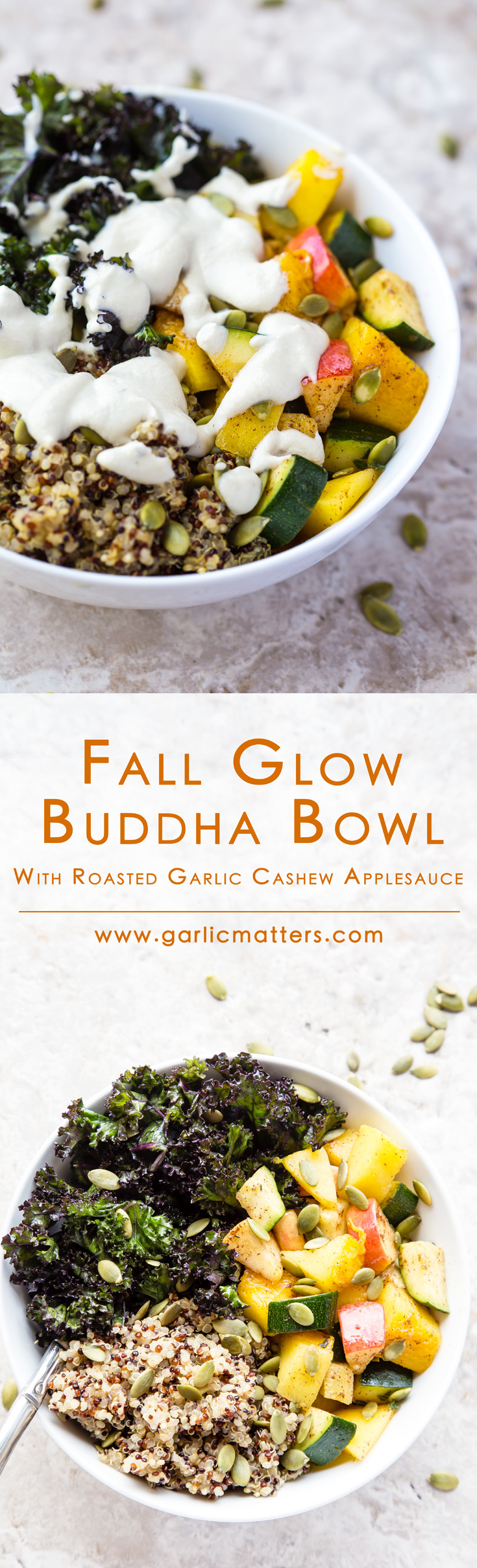 Nourishing Fall Glow Buddha Bowl with Garlic Cashew Sauce is a definition of vegan goodness. It comes with an amazing, creamy, roasted garlic cashew applesauce you can also use as a dip or to pour over simple garlic butter pasta. Healthy, gluten free, plant based, 1h recipe for lunch or dinner. Even kids love it!