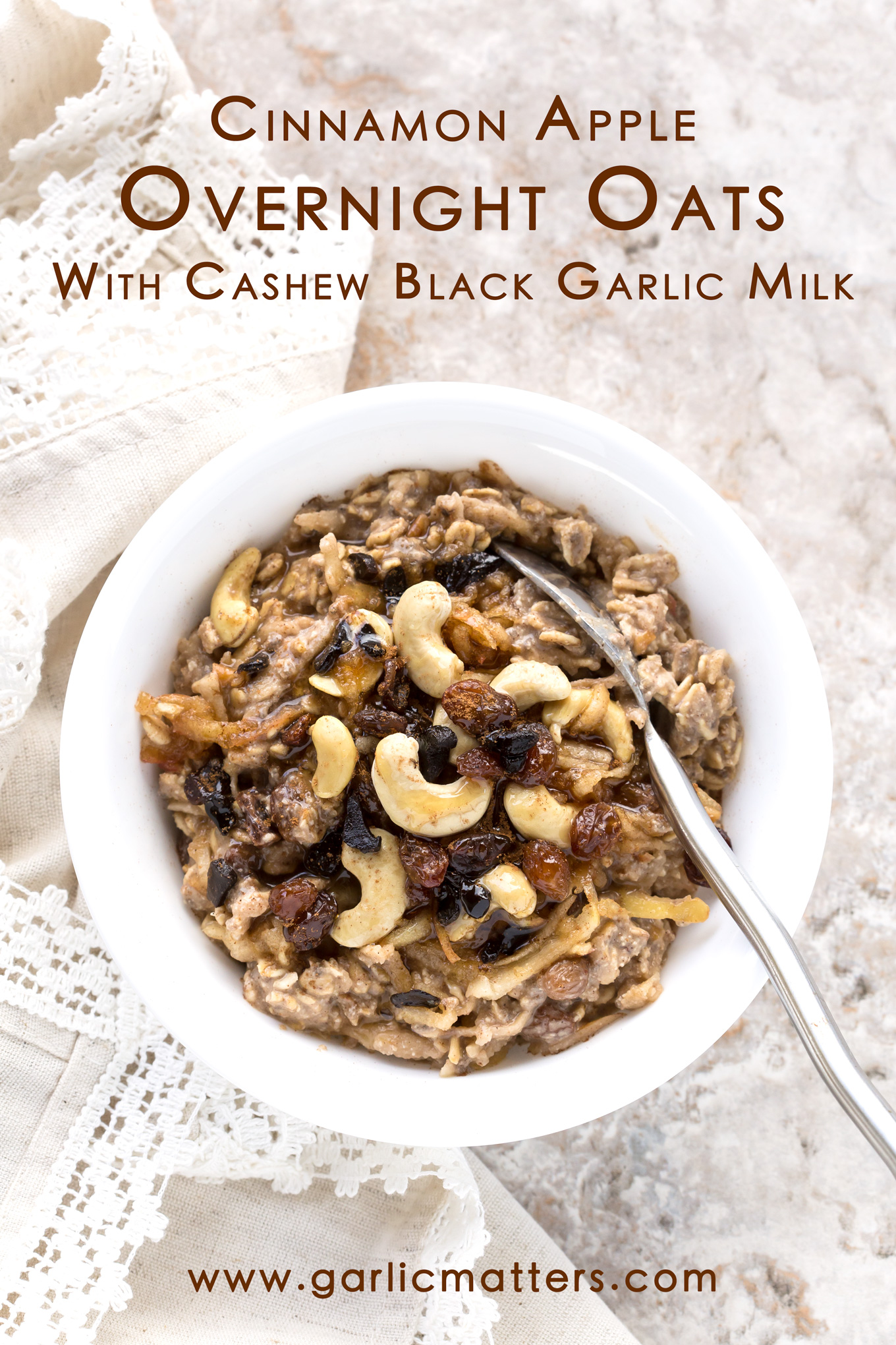 Cinnamon Apple Overnight Oats With Cashew Black Garlic Milk is a delicious vegan breakfast packed with wholesome goodness. Yup! You got it right the first time and it is not what you think it is! Black garlic has no kick or pungency! Instead it offers you a powerhouse of antioxidants and amazing balsamic, chocolate, nutty and caramel flavour puzzle I bet you'll want more of! No garlic breath, only amazing tasting breakfast. Kick start your day with this pure and healthy energy free of gluten, dairy and refined sugar.