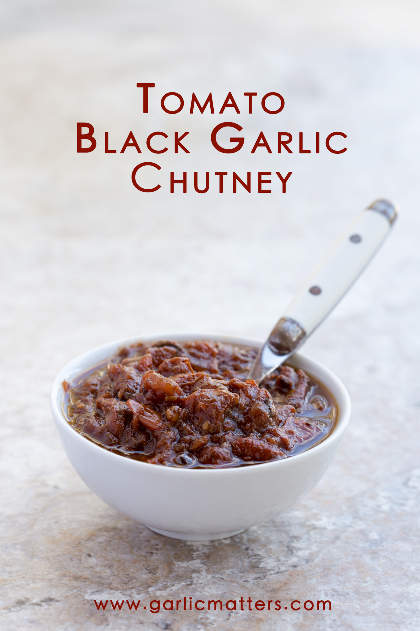 Tomato and Black Garlic Chutney - sweet and sour vegan condiment, packed with antioxidants. Easy, delicious and versatile 1 hour recipe.