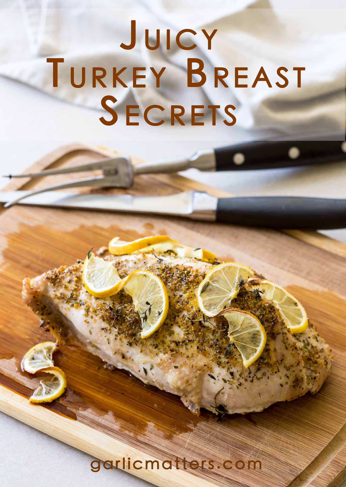 Come on in to discover my Juicy Turkey Breast secrets! This is an easy, straight forward 60 min in total recipe for an oven roasted, bone in (2 ½ lb) perfect turkey breast. You'll want to bake it time and time again, even outside the festive season to have for dinner or use in sandwiches or salads.