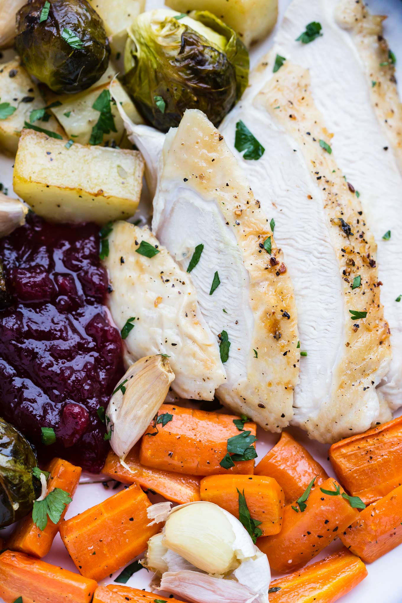 Roasted turkey breast and roasted vegetables.