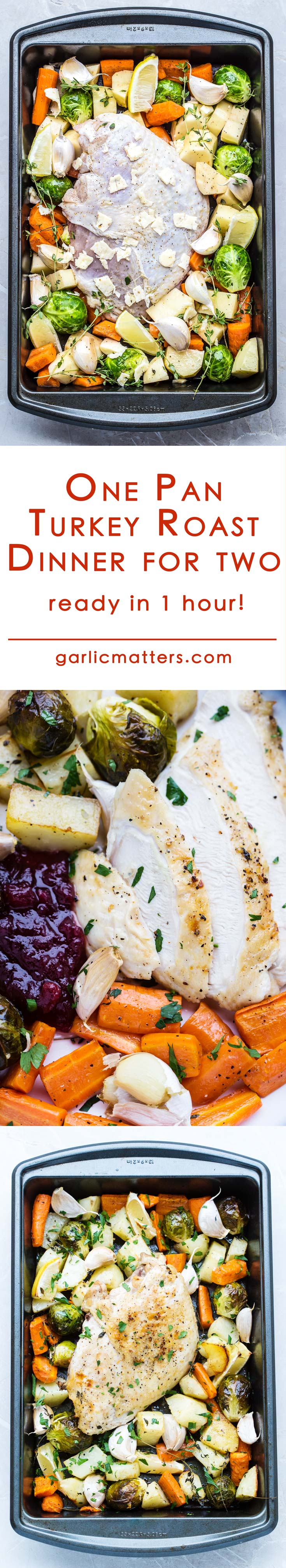 One Pan Turkey Roast Dinner for two is an easy, traditional Christmas meal recipe idea with vegetables ready in 1 hour. Yes! I'm saying you don't have to slave all day in the kitchen to serve a delicious roast! It is so simple! Serves 2 or double the recipe for 4!