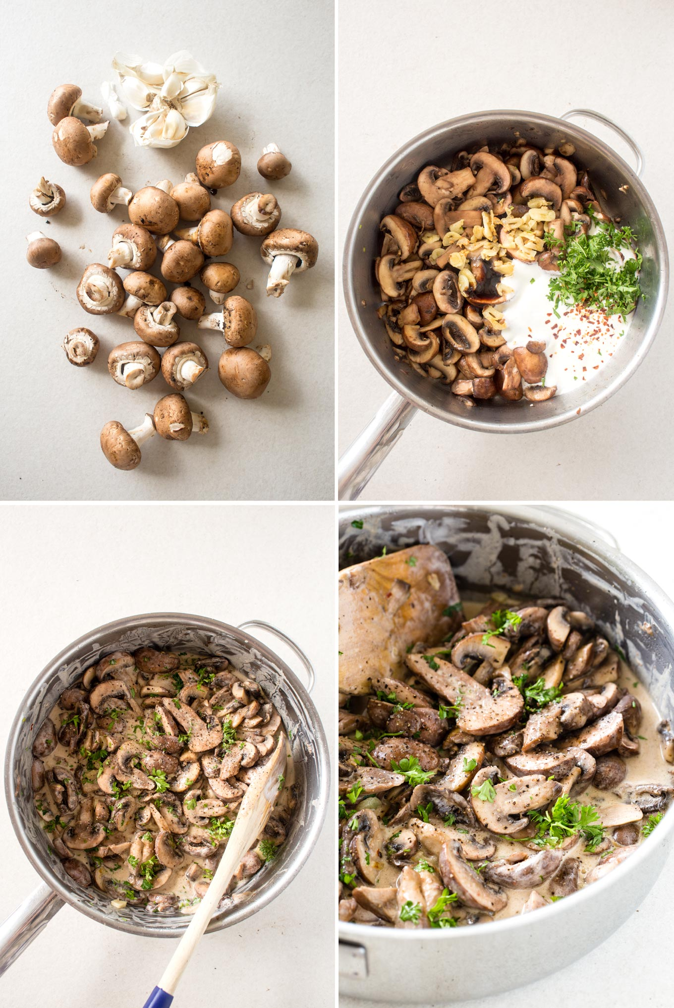 Creamy Garlic Mushrooms Recipe Step by Step Instruction Collage