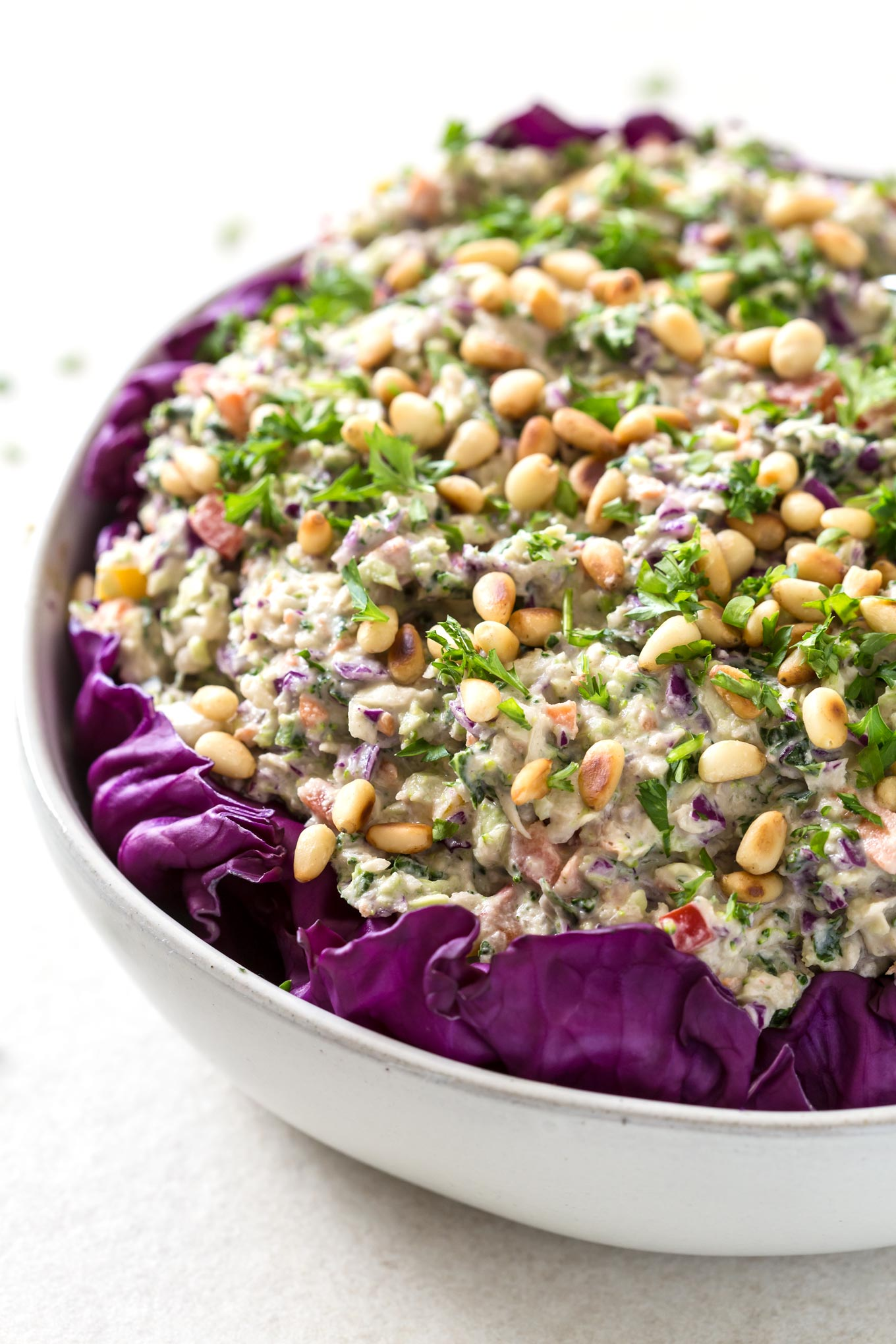 Rainbow Coleslaw Salad With Cashew Mayo close up