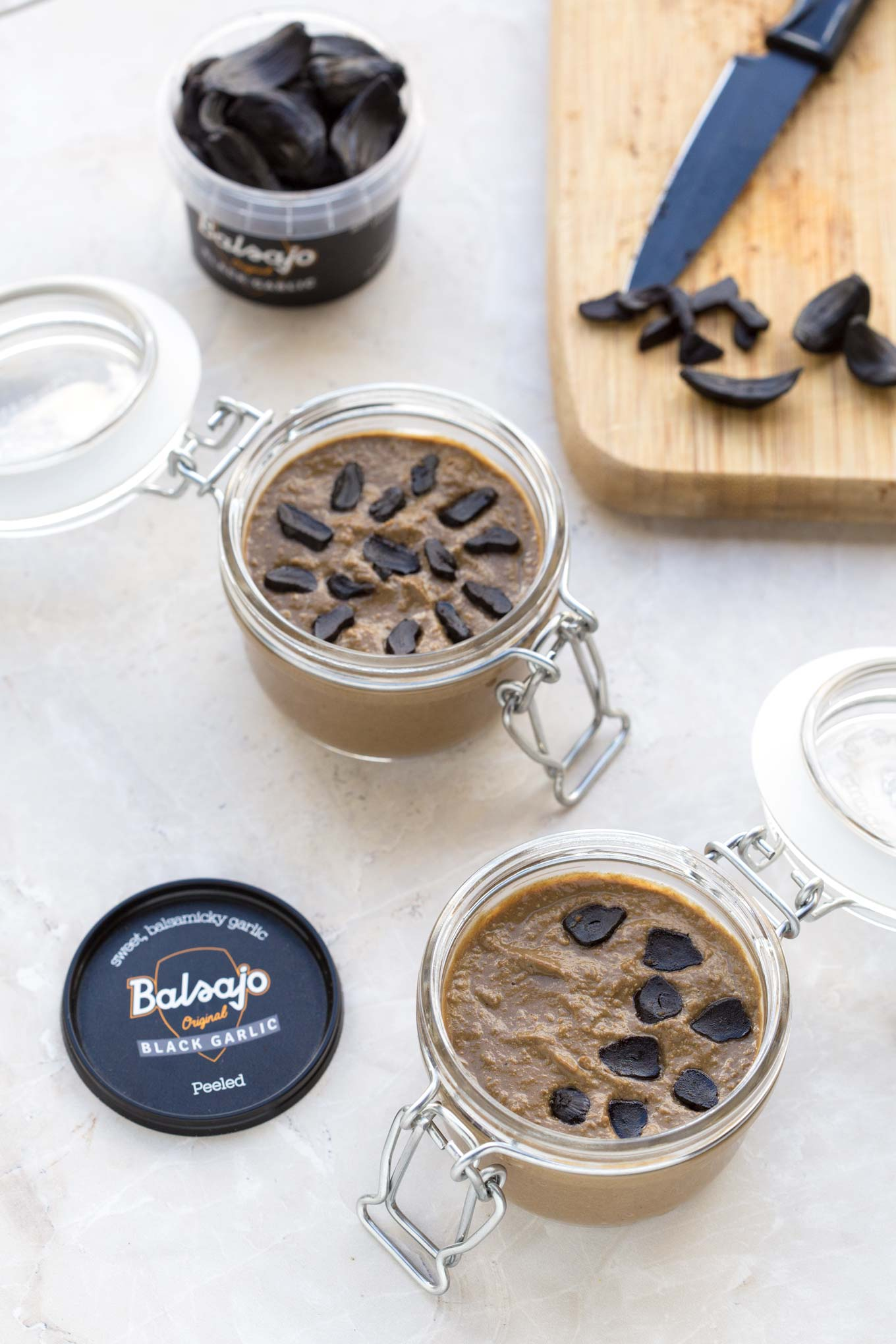 Black garlic chicken liver pate garlic matters two mason jars filled with black garlic chicken liver pate and a jar of balsajo black forumfinder Image collections