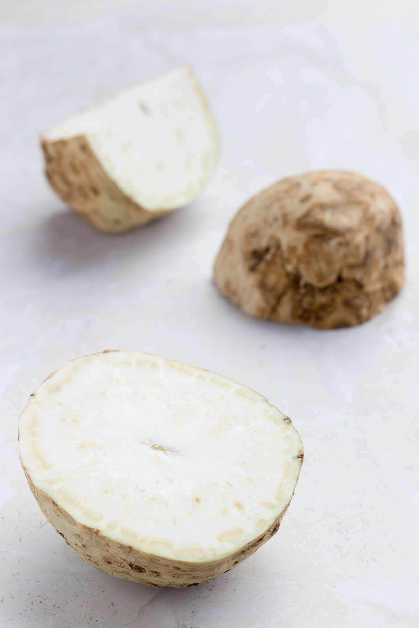 Celery Root, Halved and Quartered