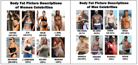 Body Fat Percentages of Male and Women Celebrities
