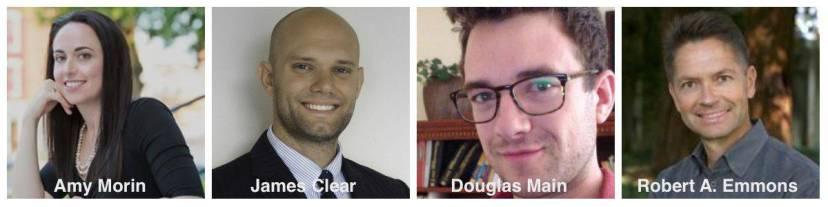 Gratitude experts James Clear, Amy Morin, Douglas Main and Dr. Robert Emmons
