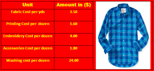 Costing for Woven Long Sleeve Shirt