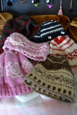 A selection of my knitted hats at the shop.