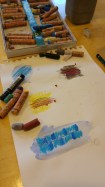 Testing oil pastel with watercolour paint.