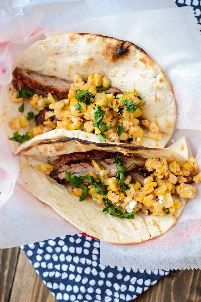 Two grilled Carne Asada Tacos