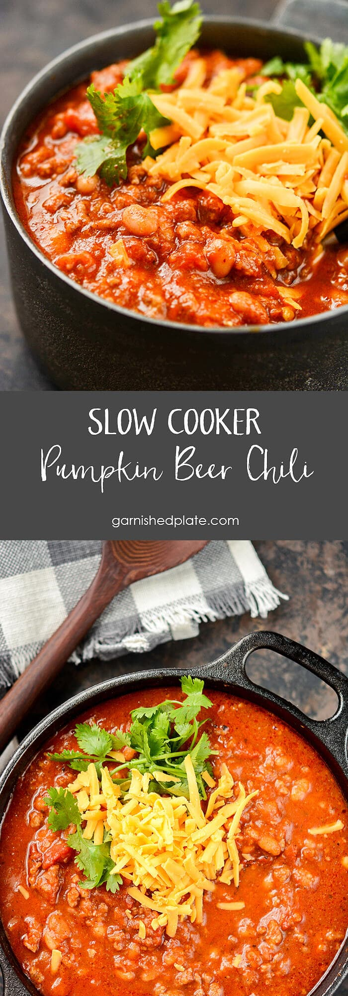 Packed full of the perfect fall flavors! Use your favorite pumpkin beer to take this chili over the top.  Loaded with butternut squash and fire-roasted tomatoes this Slow Cooker Pumpkin Beer Chili will become a new easy fall favorite.