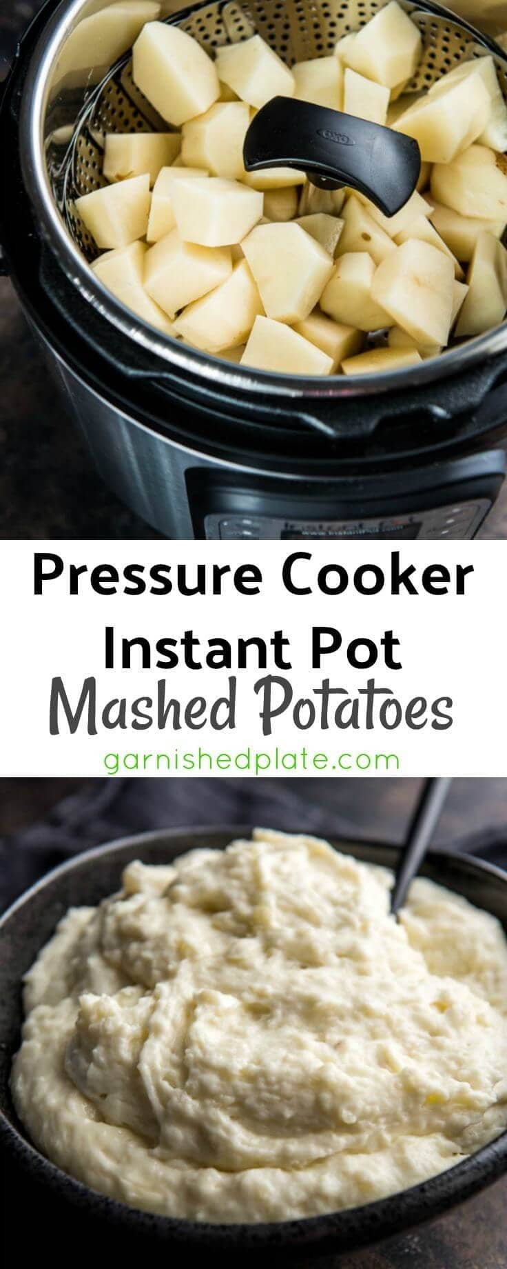 Pressure Cooker Instant Pot Mashed Potatoes are a quick and delicious way to have real homemade mashed potatoes in no time! Perfect for family dinners!