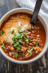 The Best IPA Beer Chili in a white bowl