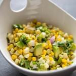 Avocado Corn Salsa in a white bowl