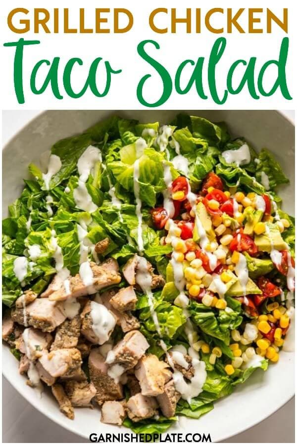 Use your leftover grilled chicken thighs and leftover corn salsa on top of fresh crisp romaine lettuce for the easiest entree dinner salad you can make! #garnishedplate #salad #chickensalad #tacosalad