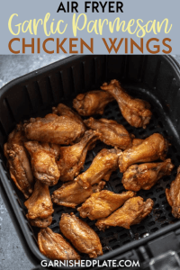 For the easiest and best game day snack use your air fryer to make these simple wings! Air Fryer Garlic Parmesan Chicken Wings and quick and delicious and perfect for parties or even dinner! #airfryer #chickenwings #gameday #appetizer