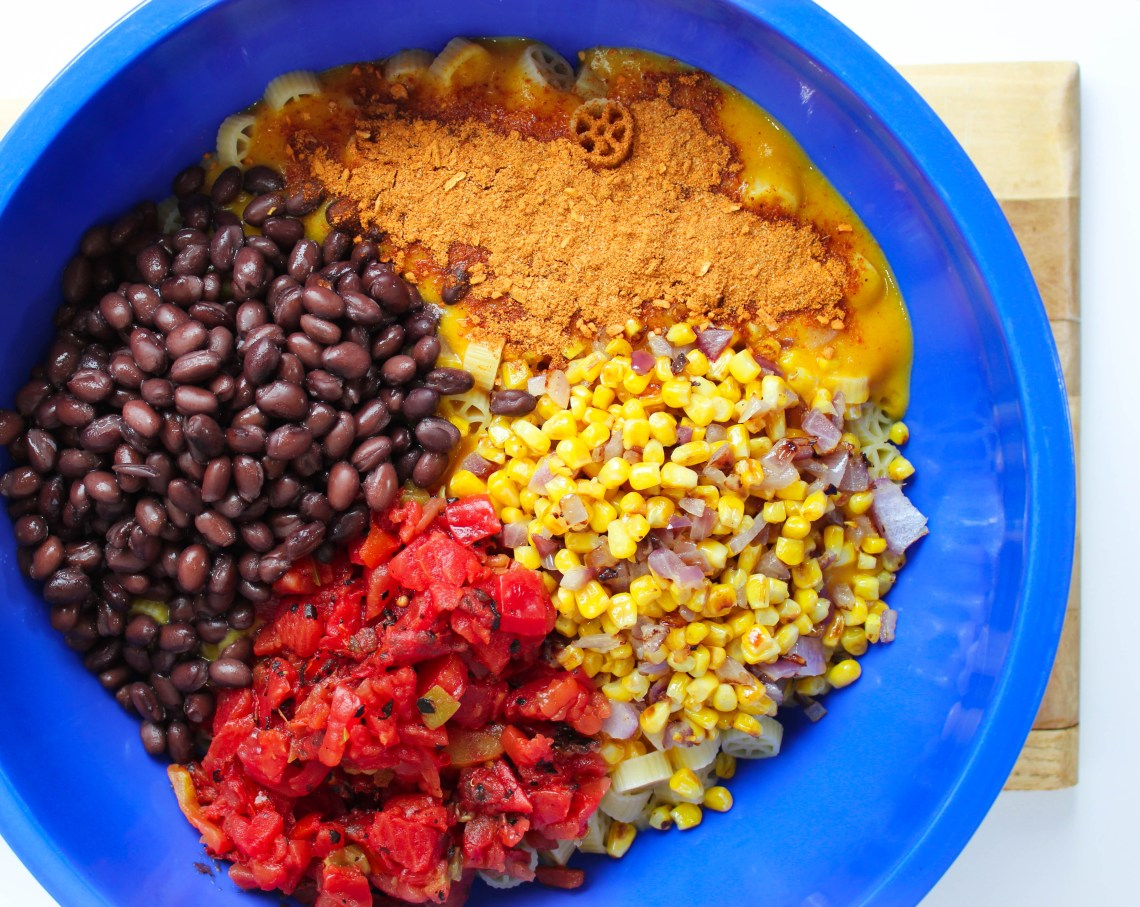 Taco Seasoning, Roasted Corn, Tomatoes with Chilies and Black Beans come together to make this delicious taco mac.