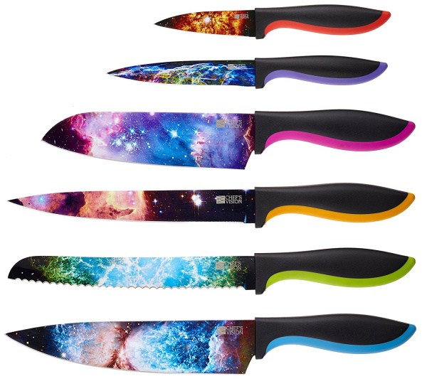 Conjunto facas de cozinha para amantes da astronomia