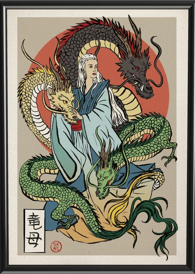 A mãe dos dragões retratada em estilo oriental