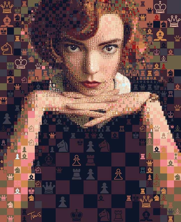 O Gambito da Rainha: Milhares de peças de xadrez formam Beth Harmon
