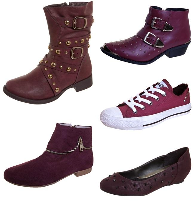 burgundy sapatos