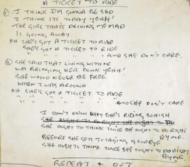 Ticket to Ride handwritten song lyrics