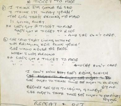 Ticket to Ride handwritten song lyrics