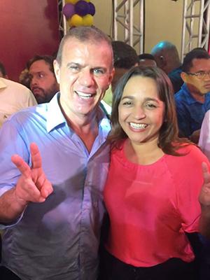 O deputado e presidente do Sampaio Sérgio Frota e a sua candidata Eliziane Gama
