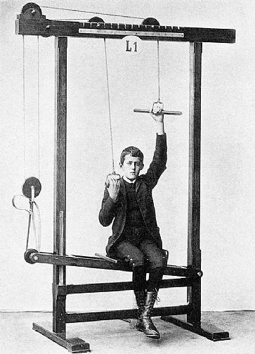 Desenvolvidos em meados do século XIX, os primeiros aparelhos de ginástica até lembravam os atuais equipamentos, mas com um estilo bem menos 'amistoso' - Foto: Reprodução