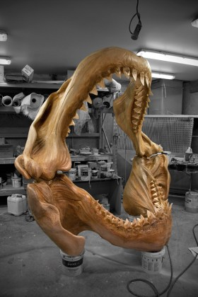 Life size Megalodon jaws made for Kelly Tarlton marine museum [polystyrene, Epoxy resin]