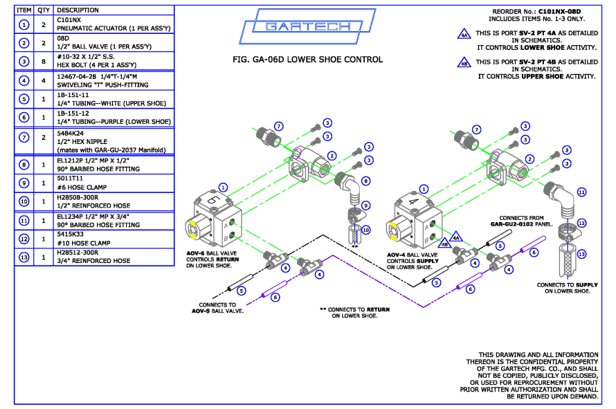 Above: Assembly layout of Air-Actuated Ball Valves controlling Lower Glue Shoe contents