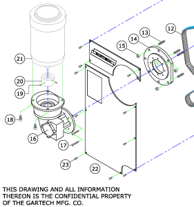 The components on the Gartech Glue System Drive Motor.