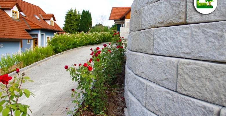 """Eine weitere Ansicht von der Steinmauer. """"SW-ReCon Stützwandsystem"""