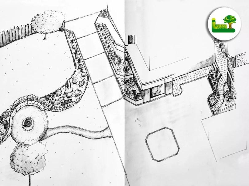 Gartenplanung. Erstellung eines Gartenplanes. Innenhofgestaltung und Hofdurchfahrt. Gestaltung mit Bepflanzung Pflasterung, Asphaltierung. Garten Leber aus Steiermark.