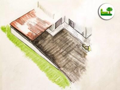 Gartenplanung einer Hauseinfahrt mit Carport. -moderne Außengestaltung