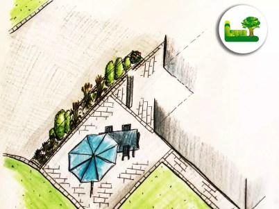 Gartenplanung einer Terrasse mit großflächiger Sitzgelegenheit Feinsteinzeug und Sonnenschirm. - Garten Leber aus Steiermark.