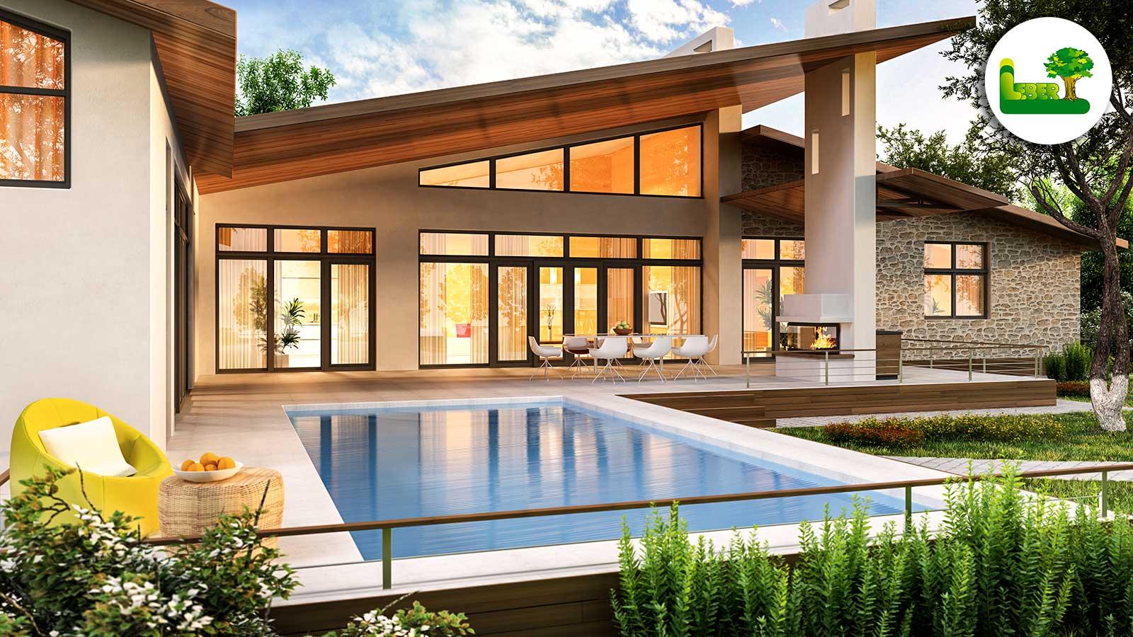 Modernes Haus mit wundervollen Pool und Außengestaltung. Alles beginnt mit einer Idee. Ihr Garten Leber Team.