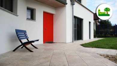 Eingangsbereich Travertin Silverato Bodenplatte - Außenanlage mit Travertin