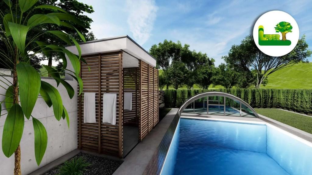 Poolanlage mit Überdachung. Sowie moderne Pooldusche. Gartengestaltung mit Palmen und Gräser.