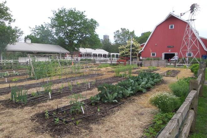 Rotes Farmhaus und Gemüsegarten davor