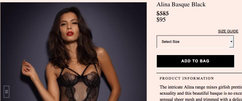 Цена на грацию Alina с учётом скидок на английской версии AP