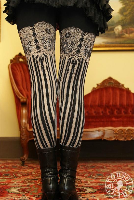 Carousel Ink Garter Leggings - Burlesque